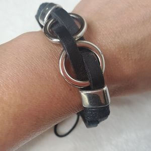 Leather Bracelet Silver toned Rings
